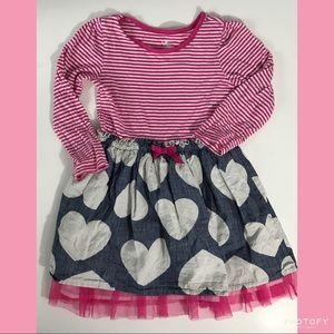 Children's Place hearts & striped dress. Sz 4T